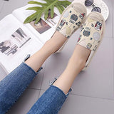 Beige Round Toe Flat Graffiti Casual Shoes