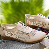 Beige Round Toe Flat Grenadine Patchwork Casual Shoes
