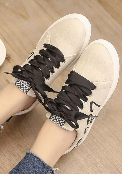 Beige Round Toe Flat Letter Print Casual Shoes