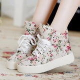 Beige Round Toe Floral Print Casual Canvas Shoes