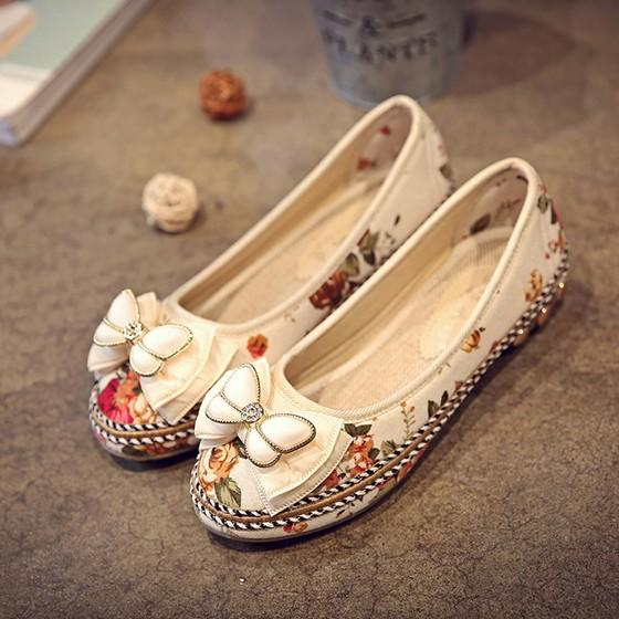 Beige Round Toe Print Bow Fashion Flat Shoes