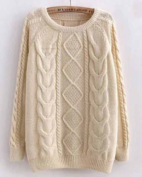 Beige Twist Pattern Round Neck Casual Pullover Sweater