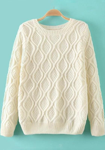 Beige-White Geometric Long Sleeve Sweater