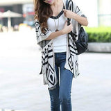 Beige-White Geometric Print Irregular 3/4 Sleeve Side Slit Knit Oversized Cardigan Sweater