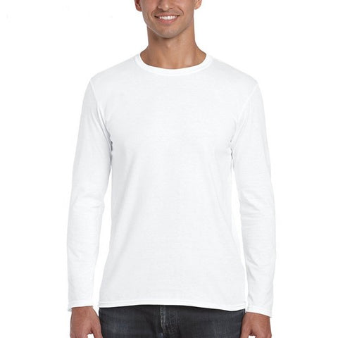 Mens 100%Cotton Solid Long Sleeve O-Neck Casual T-Shirt