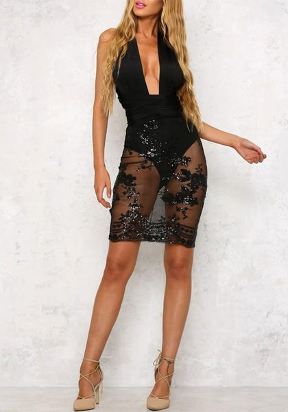 Black 2-in-1 Sequin Cross Back Deep V-neck See-through Multi Way Mini Dress