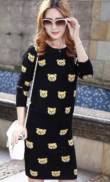 Black Animal Print Round Neck Fashion Mini Dress