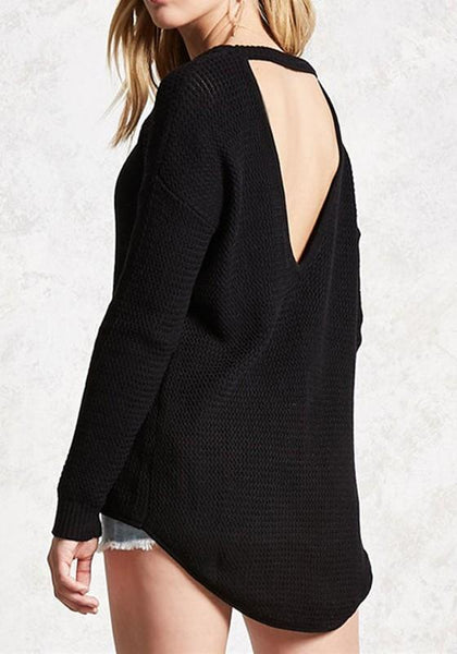 Black Backless Cut Out Round Neck Long Sleeve Pullover Sweater
