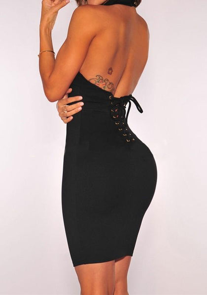 Black Backless Tie Back Band Collar Bodycon Mini Dress
