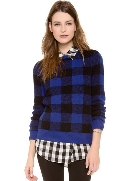 Black-Blue Plaid Print Pullover