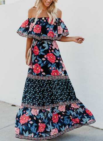 Black Boho Floral Print Off Shoulder Swing Vocation Maxi Dress