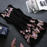 Black Butterfly Embroidery Round Neck Going out Chiffon Mini Dress