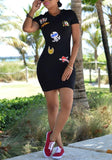 New Women Black Cartoon Print Badge Appliques Hooded Bodycon Club Slim Mini Dress