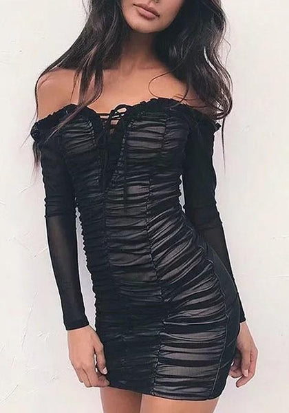 Black Cascading Ruffle Irregular Long Sleeve Fashion Mini Dress