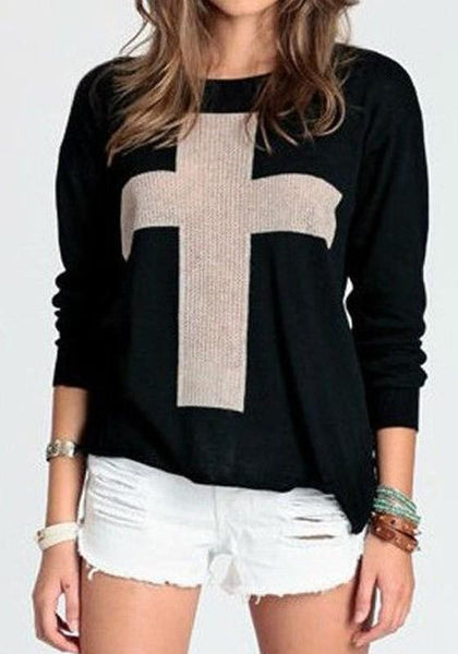 Black Cross Round Neck Pattern Fashion Cotton Pullover Sweater