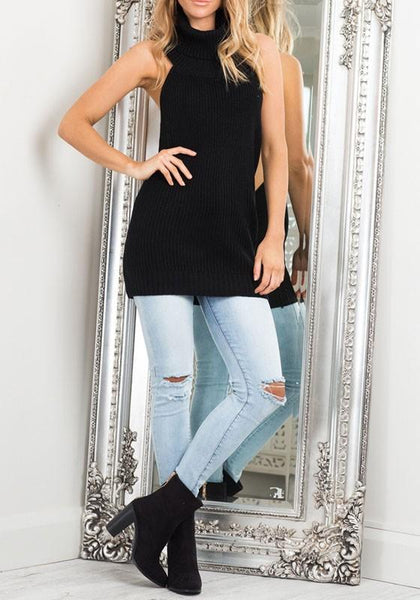 Black Cut Out High Neck Casual Cotton Pullover Sweater