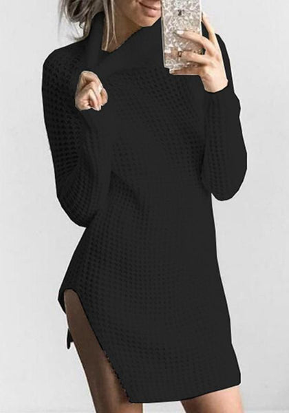 Black Cut Out High Neck Long Sleeve Fashion Mini Dress