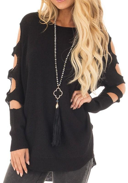 Black Cut Out Round Neck Long Sleeve Casual Pullover Sweater