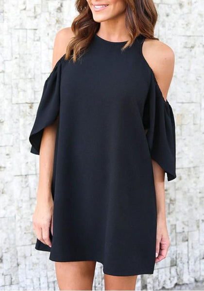 Black Draped Cut Out Off-shoulder Half Sleeve Elegant Mini Dress