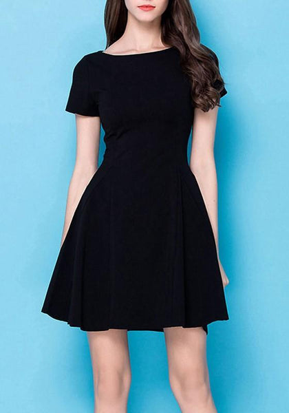 Black Draped Round Neck Short Sleeve Fashion Mini Dress