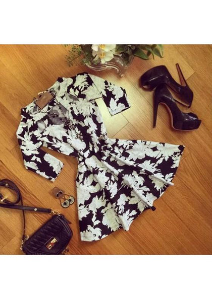 Black Floral Cut Out Draped 3/4 Sleeve Mini Dress
