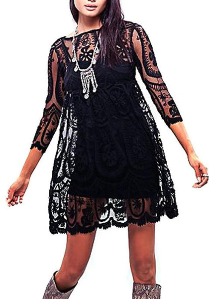 Black Floral Lace Hollow-out See-through 3/4 Sleeve A-line Cute Mini Dress