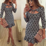 Black Floral Print Cut Out Pleated V-neck Fashion Mini Dress