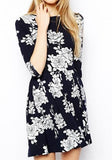 Black Floral Print Half Sleeve Dress