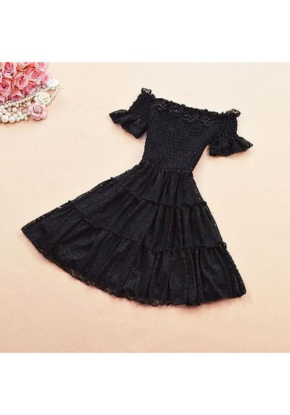 Black Flowers Lace Draped Off Shoulder A-line Elegant Mini Dress