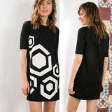 Black Geometric Print Round Neck Short Sleeve Slim Mini Dress