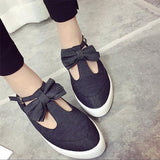 Black Heavy-Soled Within The Higher Buckle Bow Cute Shoes