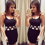 Black Hollow-out Round Neck Sleeveless Fashion Mini Dress