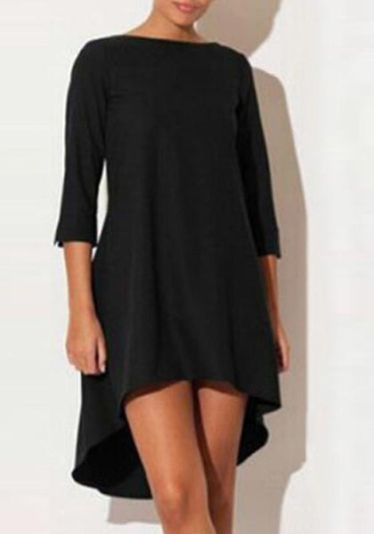Black Irregular Round Neck Fashion Polyester Mini Dress