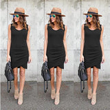Black Irregular Round Neck Sleeveless Fashion Mini Dress