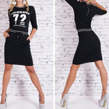 Black Monogram Print Pockets Drawstring Round Neck Mini Dress