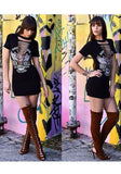 Black Monogram Rock And Roll Print Hollow-out Bodycon T-Shirt Mini Dress