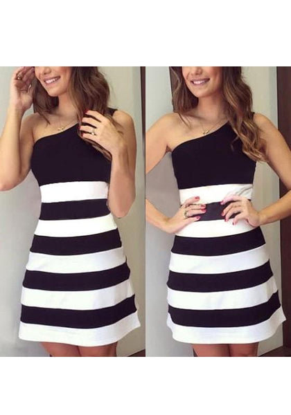 Black Patchwork Asymmetric Shoulder Sleeveless Fashion Mini Dress