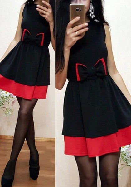 Black Patchwork Bow Round Neck Sleeveless Fashion Mini Dress