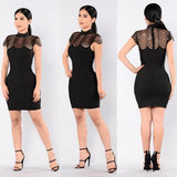 Black Patchwork Hollow-out High Neck Cap Sleeve Bodycon Club Mini Dress