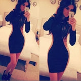 Black Patchwork Irregular Round Neck Long Sleeve Mini Dress