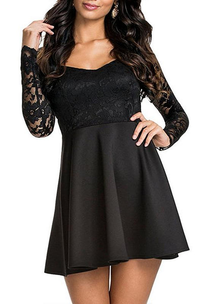 Black Patchwork Lace Draped Clubwear Long Sleeve Mini Dress