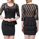 Black Patchwork Lace Hollow-out Backless Round Neck Mini Dress
