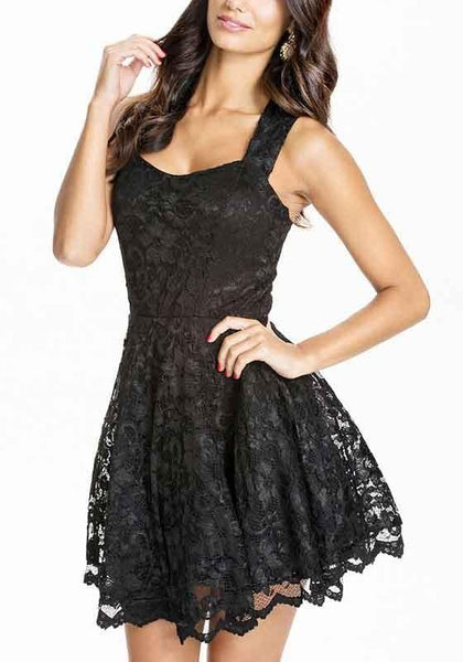 Black Patchwork Lace Hollow-out Backless Slim Mini Dress