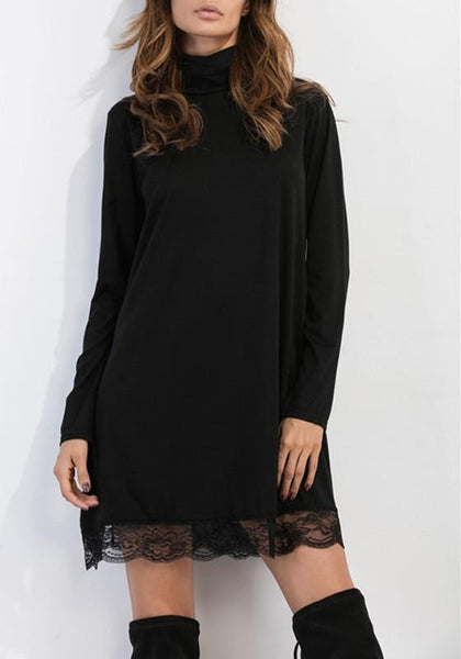 Black Patchwork Lace Hollow-out Draped Band Collar High Neck A-line Mini Dress