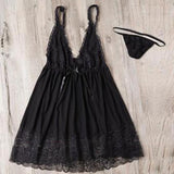 Black Patchwork Lace Hollow-out Grenadine See-through Mini Dress