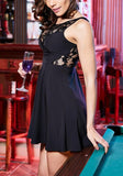 Black Patchwork Lace Pleated Sleeveless Fashion Mini Dress