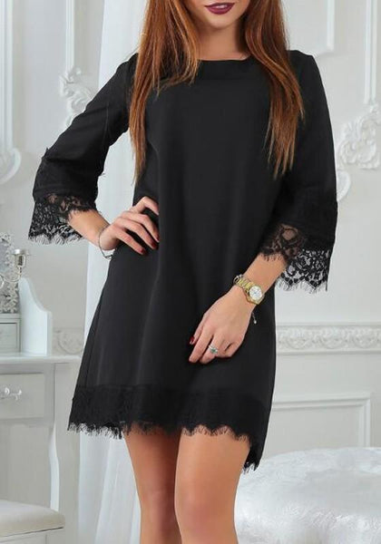 Black Patchwork Lace Round Neck Elegant Chiffon Mini Dress