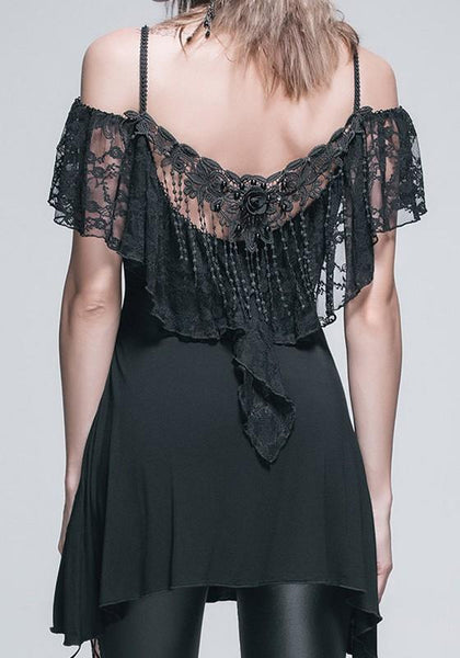 Black Patchwork Lace Tassel Draped Spaghetti Straps Mini Dress