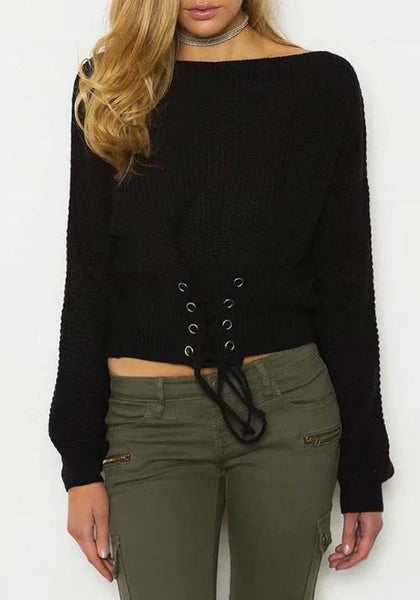 Black Patchwork Lace-up Cut Out Round Neck Long Sleeve Pullover Sweater