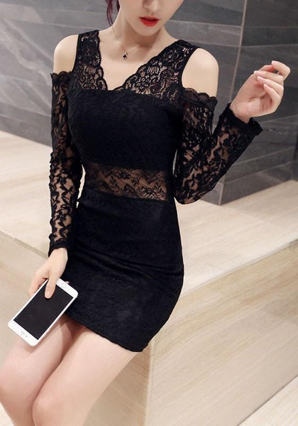 Black Patchwork Lace V-neck Fashion Polyester Mini Dress